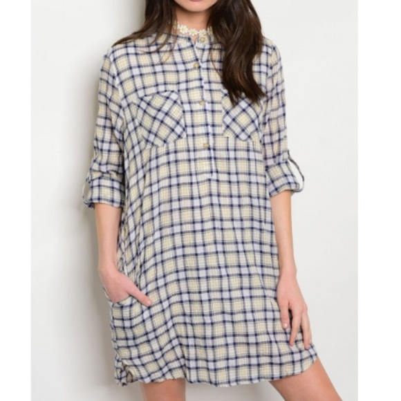 Dresses & Skirts - 3/$20 NEW Yellow and Navy Plaid Summer Dress